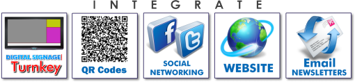 Integrate your digital signage with QR codes, Social Networking, Website and email Newsletters.